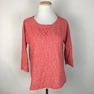 Gap Pullover Neon Piped Sweater in Vermillion Red